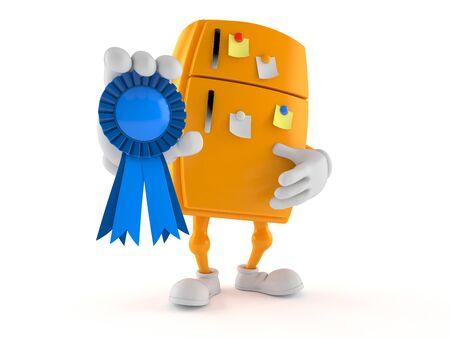 Fridge character with award ribbon isolated on white background. 3d illustration Stock fotó