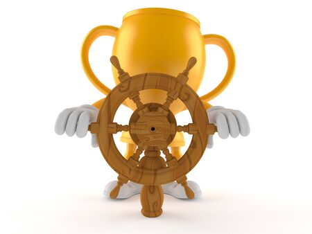 Golden trophy character holding ship wheel isolated on white background. 3d illustration Stock fotó