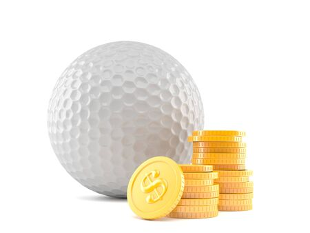 Golf ball with stack of coins isolated on white background. 3d illustration