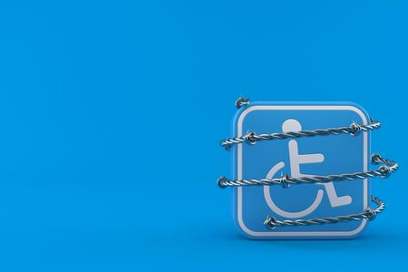 Handicap symbol with barbed wire isolated on blue background. 3d illustration