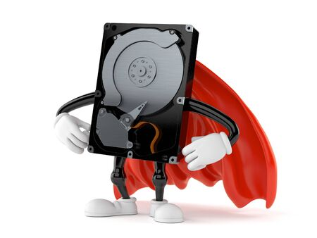 Hard disk character with hero cape isolated on white background. 3d illustration Stock fotó