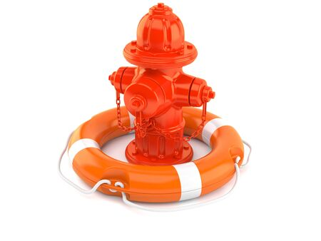 Fire hydrant inside life buoy isolated on white background. 3d illustration