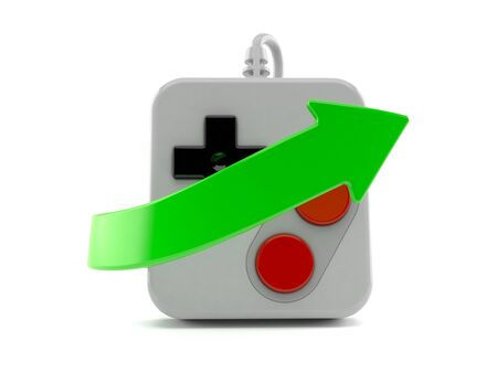 Gamepad with green arrow isolated on white background. 3d illustration Stock fotó