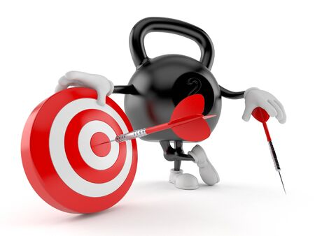 Kettlebell character with bulls eye isolated on white background. 3d illustration