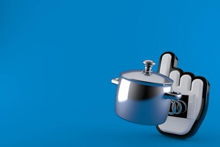 Kitchen pot with web cursor isolated on blue background. 3d illustration