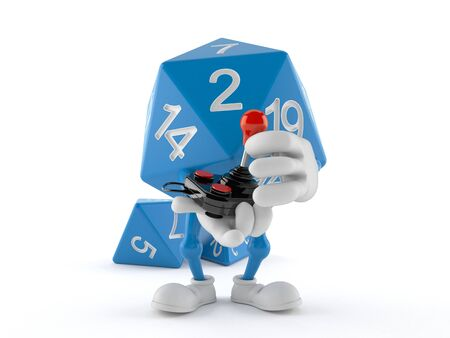 RPG dice character holding retro joystick isolated on white background. 3d illustration