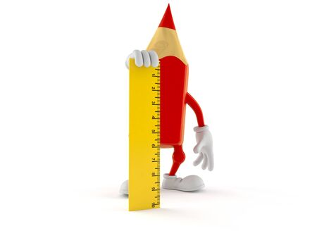 Colored pencil character holding ruler isolated on white background. 3d illustration Stock fotó