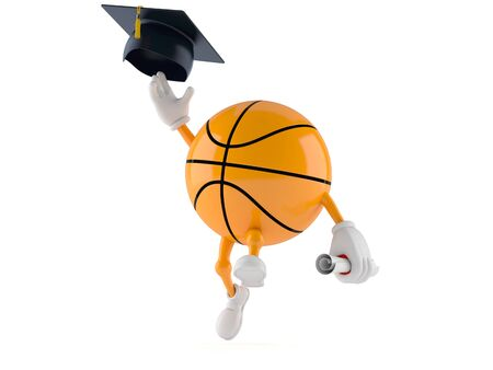 Basketball character throwing mortar board isolated on white background. 3d illustration Zdjęcie Seryjne