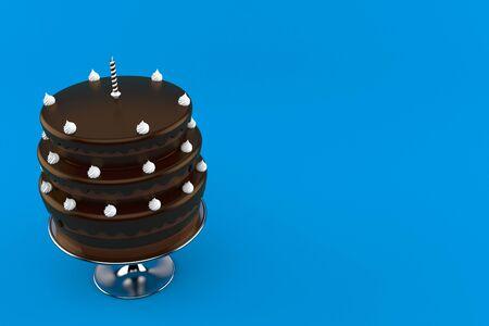 Birthday cake isolated on blue background. 3d illustration