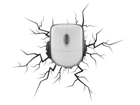 Computer mouse inside cracked hole isolated on white background. 3d illustration Фото со стока
