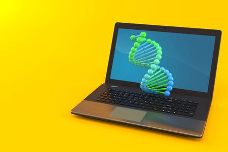 DNA with laptop isolated on orange background. 3d illustration Stok Fotoğraf