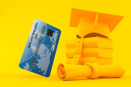 Education background with credit card in orange color. 3d illustration