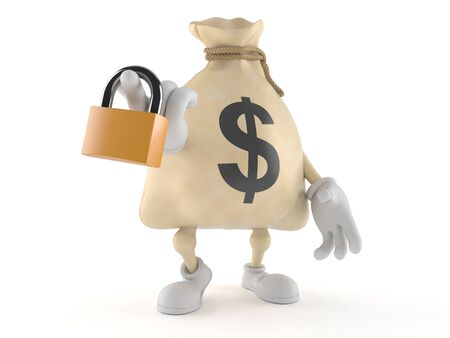 Dollar money bag character holding padlock isolated on white background. 3d illustration