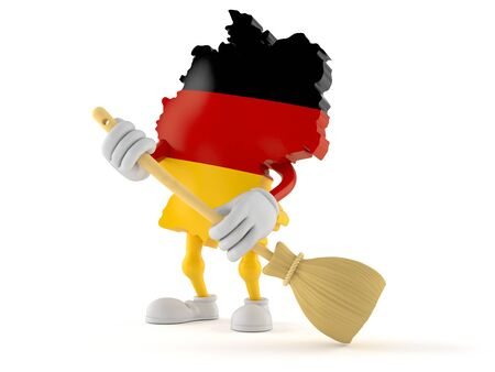 German character sweeps the floor isolated on white background. 3d illustration
