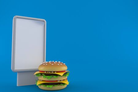 Cheeseburger with blank billboard isolated on blue background. 3d illustration Foto de archivo - 135151648