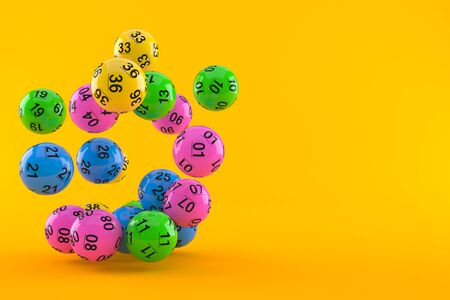 Lottery balls on orange background. 3d illustration