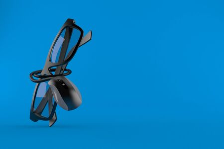 Glasses with computer mouse isolated on blue background. 3d illustration