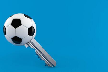 Soccer ball key isolated on blue background. 3d illustration