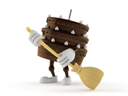 Cake character sweeps the floor isolated on white background. 3d illustration