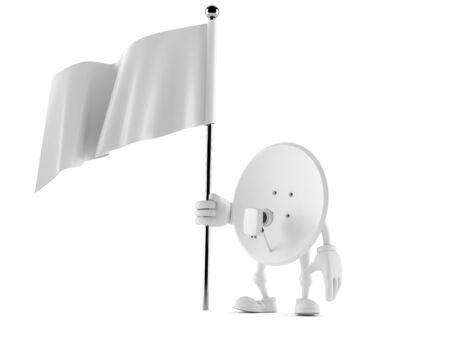Satellite dish character holding blank flag isolated on white