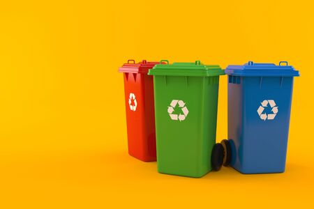 Recycling dustbins isolated on orange