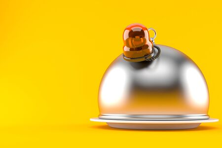 Catering dome with emergency siren isolated on orange Stock Photo