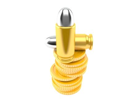 Bullet with stack of coins isolated on white background. 3d illustration