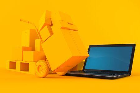 Delivery background with laptop in orange color. 3d illustration