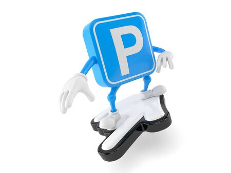 Parking symbol character surfing on cursor isolated on white background. 3d illustration
