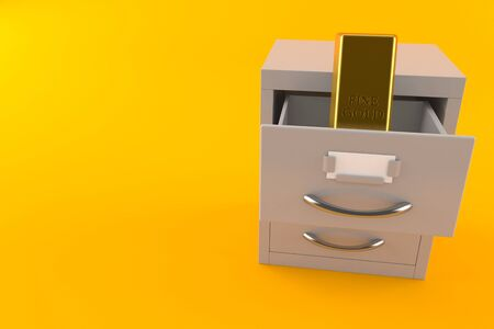 Gold ingot inside archive isolated on orange background. 3d illustration Banco de Imagens