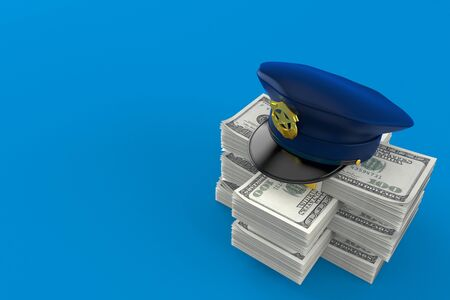 Police hat on stack of money isolated on blue background. 3d illustration 写真素材