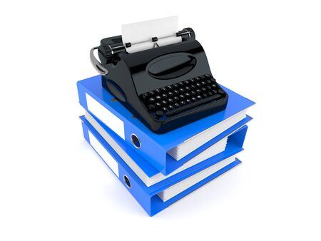 Typewriter with ring binders isolated on white background. 3d illustration