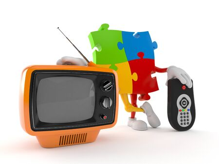 Jigsaw puzzle character with tv set and remote isolated on white background. 3d illustration