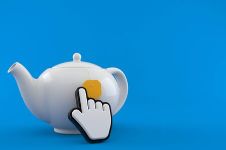 Teapot with web cursor isolated on blue background. 3d illustration Stock fotó - 137864085
