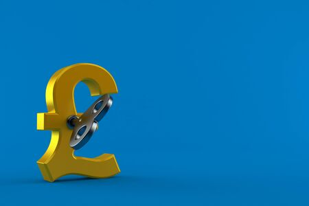 Pound currency with clockwork key isolated on blue background. 3d illustration