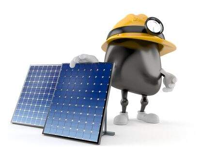 Miner character with photovoltaic panel isolated on white background. 3d illustration