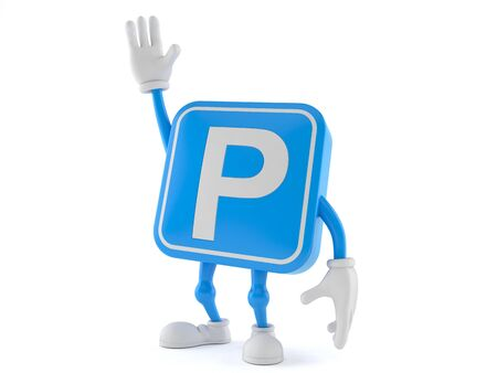 Parking symbol character with hand up isolated on white background. 3d illustration
