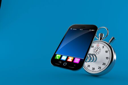 Smart phone with stopwatch isolated on blue background. 3d illustration