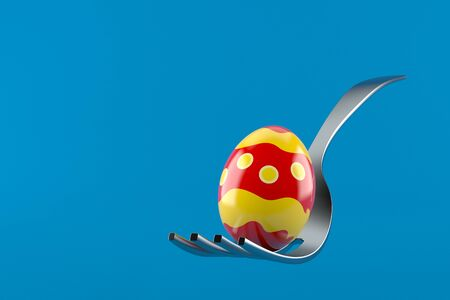 Fork with easter egg isolated on blue background. 3d illustration 写真素材 - 137758792