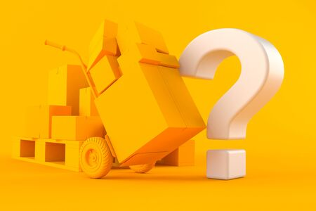Delivery background with question mark in orange color. 3d illustration