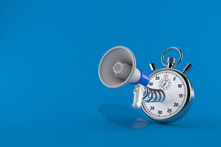 Megaphone with stopwatch isolated on blue background. 3d illustration Stok Fotoğraf