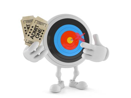 Bulls eye character holding tickets isolated on white background. 3d illustration