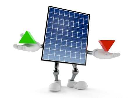 Photovoltaic panel character with up and down arrow isolated on white background. 3d illustration
