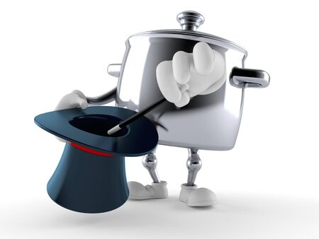 Kitchen pot character with magic hat isolated on white background. 3d illustration Stock fotó - 137884849