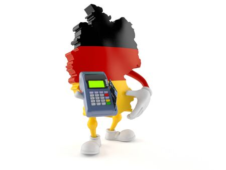 German character holding credit card reader isolated on white background. 3d illustration