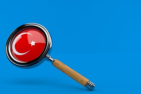 Magnifying glass with turkish flag isolated on blue background. 3d illustration Stock fotó