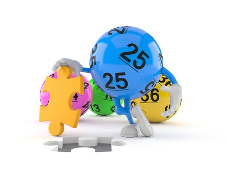Lotto ball character with jigsaw puzzle isolated on white background. 3d illustration 스톡 콘텐츠