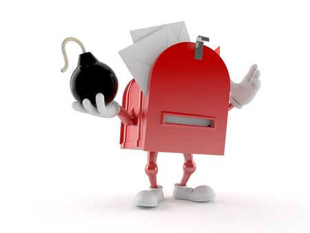 Mailbox character holding bomb isolated on white background. 3d illustration