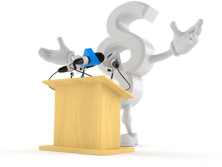 Paragraph symbol character gives a presentation isolated on white background. 3d illustration Banco de Imagens