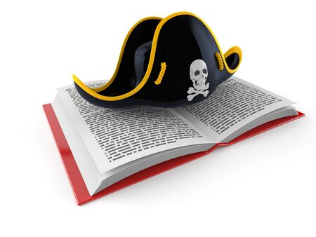 Pirate hat on open book isolated on white background. 3d illustration